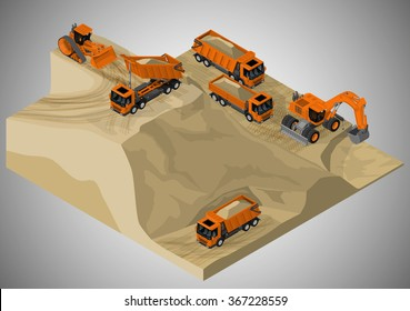 Vector isometric illustration of sand quarry and machinery technician involved in the extraction of sand. Equipment for high-mining industry.