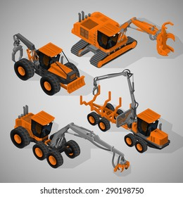 Vector isometric illustration of a set of equipment for forestry industry consisting of  feller-buncher machine, a forwarder, a skidder and rubber-tired forestry harvester.