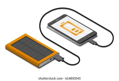 Vector isometric illustration of solar powerbank charging a smartphone