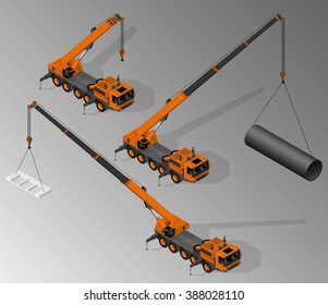 Vector isometric illustration of three views of mobile crane. Equipment for the construction industry.