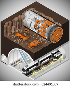 Vector isometric illustration of tunnel boring machine at the construction of a new metro line. Tunnel shields and equipment.