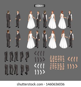 Vector isometric illustration of a wedding, the groom and the bride in a classic suit and a long white dress