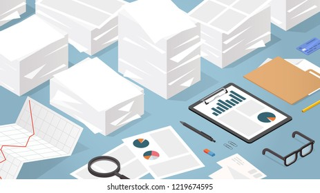 Vector isometric illustration of working with documents. Big stacks of paper with folder, glasses, documents, charts, file, magnifier.  Analysing and researching creative process concept.