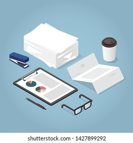 Vector isometric illustration of working with documents. Big stacks of paper, clipboard with chart, contract, documents, magnifier, glasses, office supplies. Analysing and researching process concept.