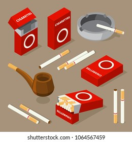 Vector isometric illustrations of cigarettes and various accessories for smokers. Smoke cigarette and tobacco isometric 3d