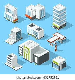 Vector isometric illustrations of hypermarket, bank and other service and municipal buildings