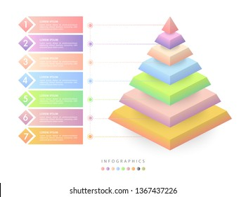 Vector isometric infographic design UI template colorful gradient 7 number labels and icons. Ideal for business concept presentation banner workflow layout and process diagram.
