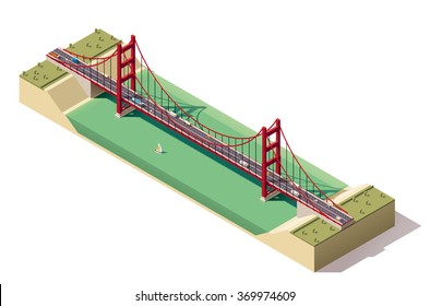 Vector Isometric infographic element or icon representing cars, trucks and buses driving on Golden Gate suspension bridge in San Francisco, California, USA