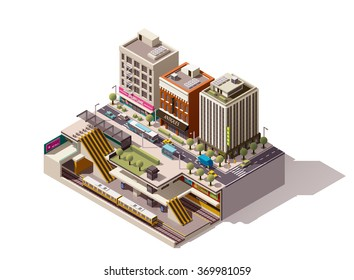 Vector Isometric infographic element or icon representing low poly cross-section of the street with buildings and underground metropolitan station. Subway train, escalator, platform are visible