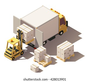 Vector Isometric infographic element or icon representing box truck and forklift loading pallets with cardboard boxes. Low poly style
