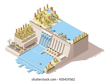Vector Isometric infographic element or icon representing hydroelectric power station with dam on the river, water reservoir, power lines and flowing water from turbines