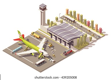 Vector Isometric infographic element or icon representing low poly airport terminal, jet airplane, ground support vehicles, equipment and traffic control tower