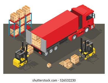 Vector Isometric infographic element or icon representing box truck and forklift loading pallets with cardboard boxes