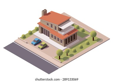 Vector isometric infographic element representing suburban building