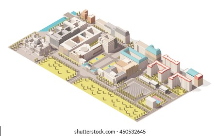 Vector Isometric infographic element representing low poly map of Berlin, Germany. Includes Reichstag building, Brandenburg gate, Holocaust memorial and nearby street buildings