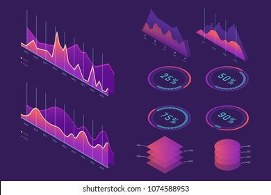 Vector Isometric infographic element set. Colorful infographic design. Design elements for business presentation, statistics of data, web site. Decorative diagrams, graphs, columns, pyramids. Eps 10