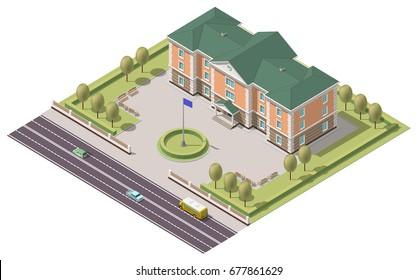 Vector isometric infographic element or university building. Flat illustration on white background