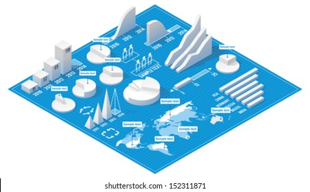 Vector isometric infographic elements - 3d bar and pie charts and World map