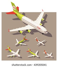Vector Isometric infographic elements set representing commercial passenger airplanes. Different classes of jet and propeller engine airplanes in low poly style