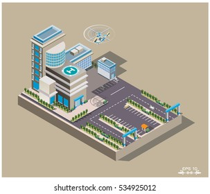 Vector isometric Infographic elements that represent a low poly hospital building with ambulance van. flight nurse