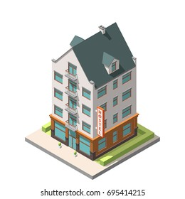 Vector isometric infographic icon . The old residential building in European style with an attic floor