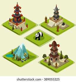 Vector isometric Japane pagoda Icon Set. 3D Game platforms with buildings and trees elements. Isometric landscape illustrations.-stock vector