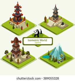 Vector isometric Japane pagoda Icon Set. 3D Game platforms with buildings and trees elements. Isometric landscape illustration.-stock vector