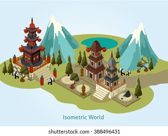 Vector isometric Japanese landscape. Isometric buildings with trees and Japane landscape.Vector isometric EPS. Isometric landscape and buildings illustration.-stock vector