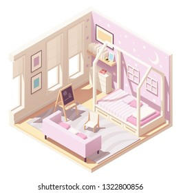 Vector isometric kid or childrens room cross-section with house shaped wooden bed, pink walls, carpet, sofa, black board and small kids chair