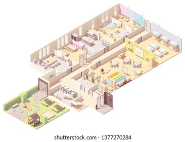 Vector isometric Kindergarten building cross-section. Infant and toddler daycare room, preschool classroom, nap room, outdoor playground, kitchen, toilets and wardrobe