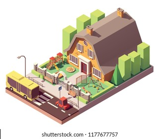 Vector isometric kindergarten or preschool building with playground, fence and gate