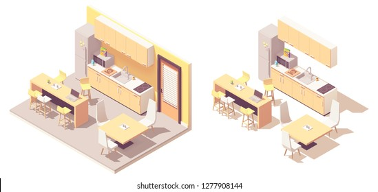 Vector isometric kitchen. Kitchen furniture, fridge, microwave oven, sink, tables with chairs and electric stove