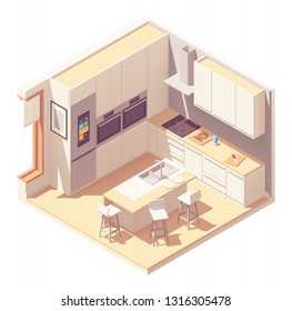 Vector isometric kitchen interior cross-section with island, furniture, built in oven, fridge and other appliances