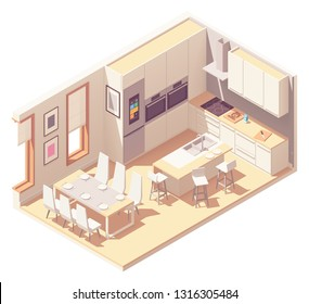 Vector isometric kitchen interior cross-section with island, dining area, furniture, built in oven, fridge and other appliances