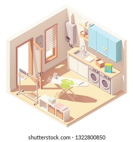 Vector isometric laundry room or utility room interior cross-section with washing machine, clothes dryer, furniture, tankless water heater, sink, ironing board and garment rack