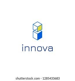 Vector isometric i letter logo design template for innovative startup business, online web tech company, app, development studio, design agency.