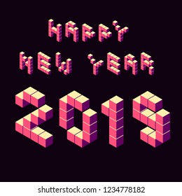 Vector isometric lettering happy new year numbers 2019 isometric pixel voxel volumetric 3d pixel numbers 2019 pink on black numbers 2019 year lettering isimetric typewriting happy new year lettering
