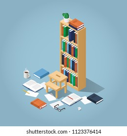 Vector isometric library illustration. Bookcase full of books with some of them laying around, glasses, open books, papers pencil and mug. Reading or preparing for exam concept.