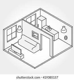 Vector isometric living room icon. Illustration of the room of the lines. Liner illustration. 3D plan