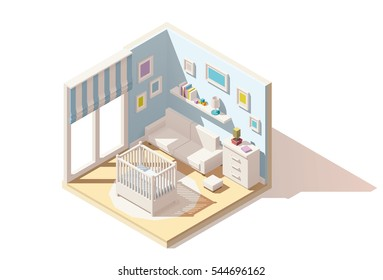 Vector isometric low poly baby room cutaway icon. Room includes baby cradle, cabinet and sofa
