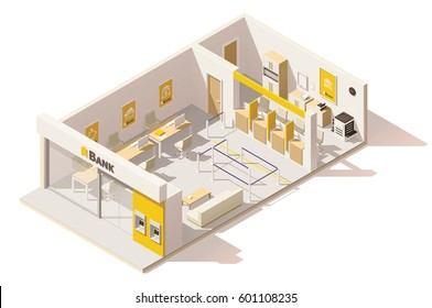 Vector isometric low poly bank interior