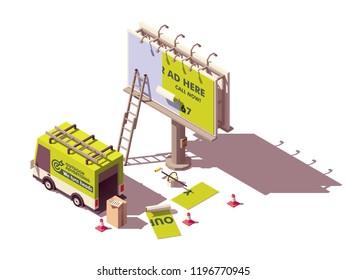 Vektorisometrische Low-Poly-Plakatwerbung-Installations-Illustration, einschließlich Plakatwand, Leiter, Eimer mit Leim, Werbeagentur-LKW