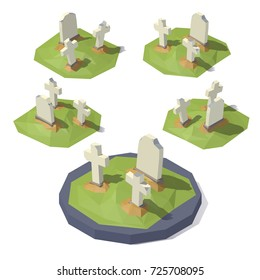 Vector isometric low poly churchyard with tombstones. Churchyard with tombstones from different angles.