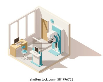 Vector isometric low poly clinic mammography room. Includes mammography unit and other equipment