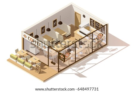 Vector Isometric Low Poly Coffee Shop Stock Vector