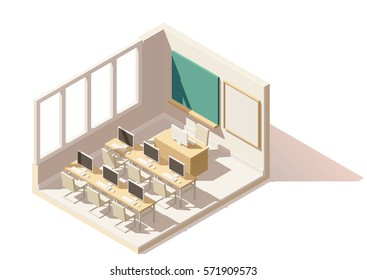 Vector isometric low poly computer classroom cutaway icon. Includes school desks, chairs, blackboard and computers