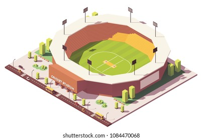 Vector isometric low poly cricket stadium building
