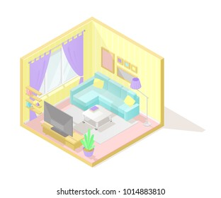 Vector isometric low poly cutaway interior illustartion. Living room with sofa, coffee table, tv and other furniture in pastel colors