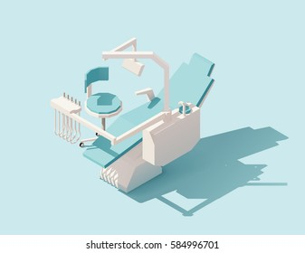 Vector isometric low poly dental chair on blue background