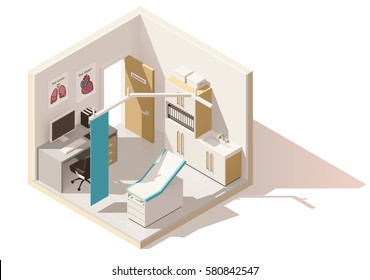 Vector isometric low poly doctors office icon. Includes examination table, working desk and other furniture